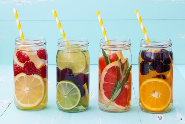 four-jars-of-fruit-infused-detox-water
